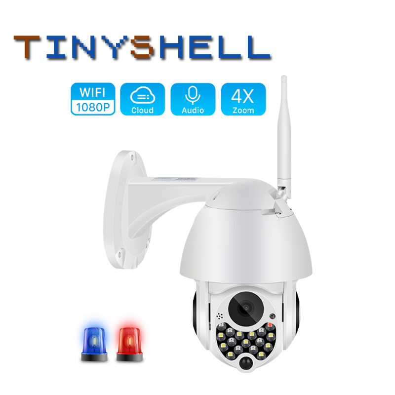 1080P Outdoor Auto Tracking Cloud Home Security IP Camera Wifi PTZ Camera With Siren Light 2MP 4X Digital Zoom Speed Dome Camera