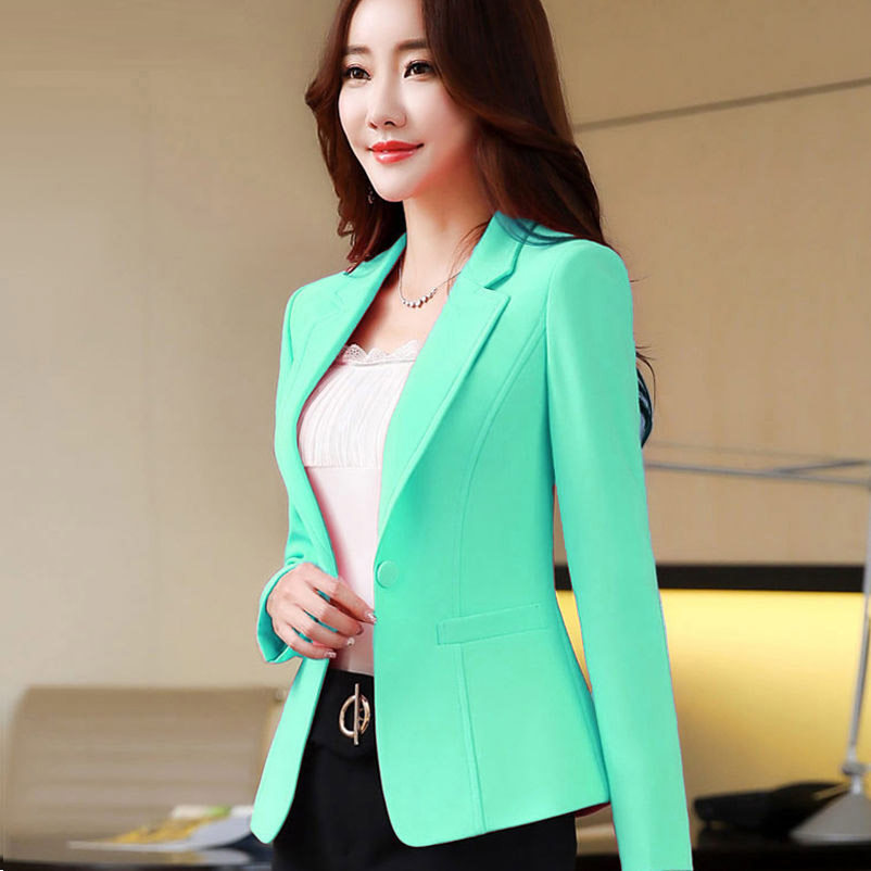 2019 Fashion Spring Women Blazers Jackets Small Chiffon Suit Jacket Candy Color Long Sleeve Slim Suit Button Lady Basic Jackets