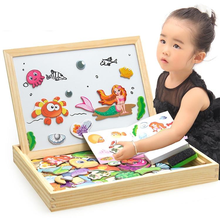 Wooden Children Early Education Magnetic Animal Joypin Educational Sketchpad 3D Puzzle Model Flexible Writing Board Blackboard T