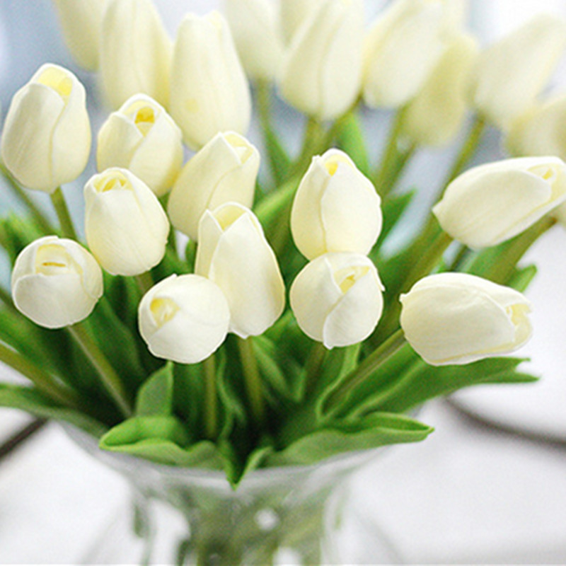 1PC PU Mini Tulips Artificial Flowers For Home And Wedding Decoration Flowers 9