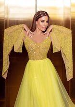 Блестящее желтое Тюлевое платье для выпускного вечера с запахом