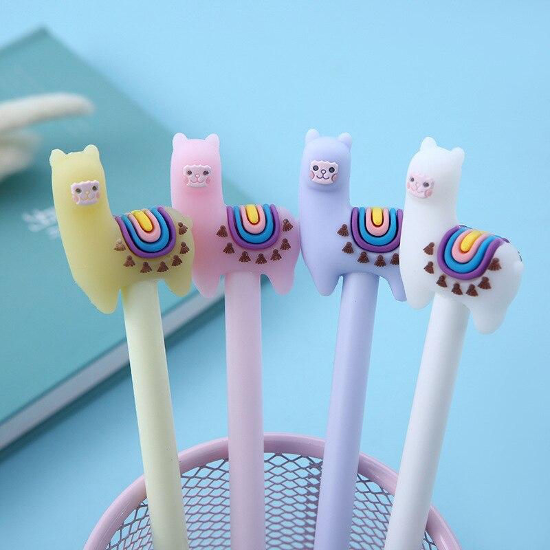 1PC Kawaii Colorful Llama Camel Gel Pen Writing Signing Pen School Office Supply Kids Gift Stationery 0.5mm Blue Ink