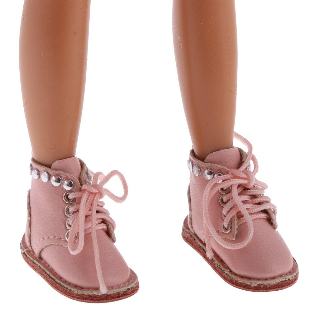 Trendy Schöne Rosa PU Leder Spitze Up Stiefel Schuhe für 12'' Blythe Puppe Kleidung Kleid Up Zubehör