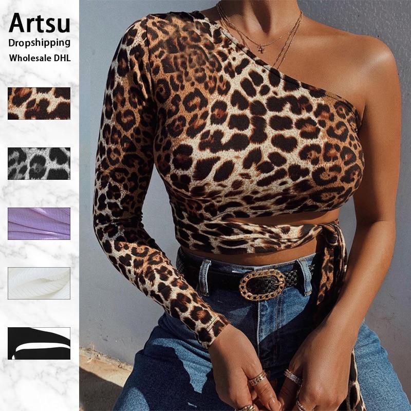 Artsu сексуальные Обрезанные Топы на одно плечо с леопардовым принтом на шнуровке, футболки для женщин, тонкие модные осенне-зимние футболки, ...