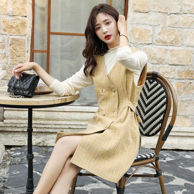 Fashion Stand Collar Tops Versatile Korean-style Elegant Trend Double Breasted Skirt Two-Piece Set Autumn