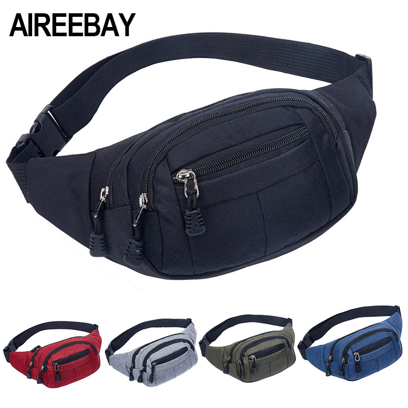 AIREEBAY Men Casual Functional Fanny Pack Waist Pack For Women Money Phone Belt Pouch With 4 Zipper Bags Large Capacity Bum Bags