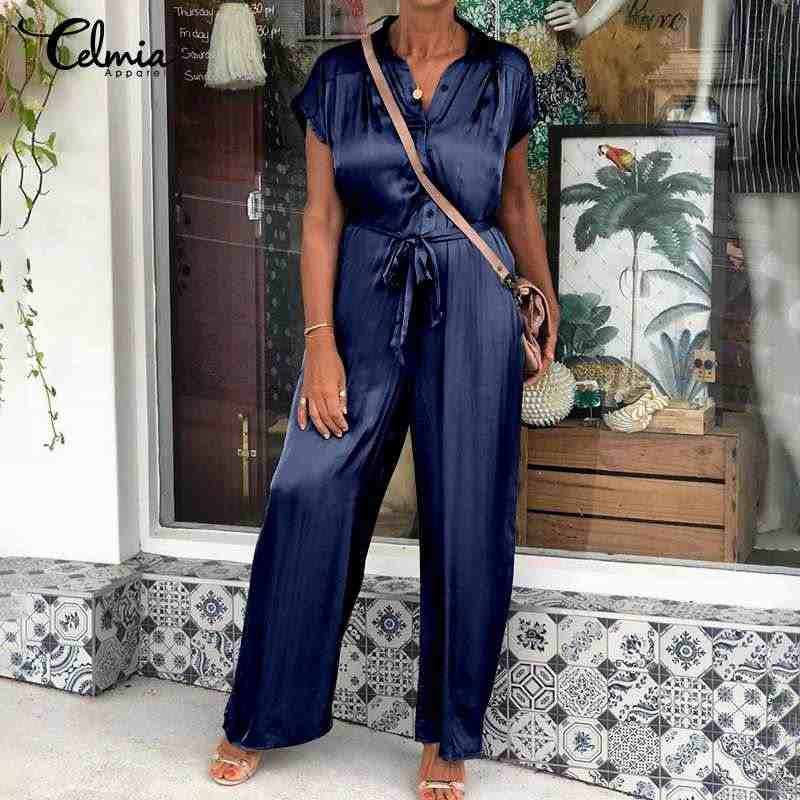 Celmia kobiety elegancka, długa kombinezony satyna pajacyki 2020 lato Lapel krótki rękaw stałe popędzający kombinezony Plus Size na co dzień Playsuit
