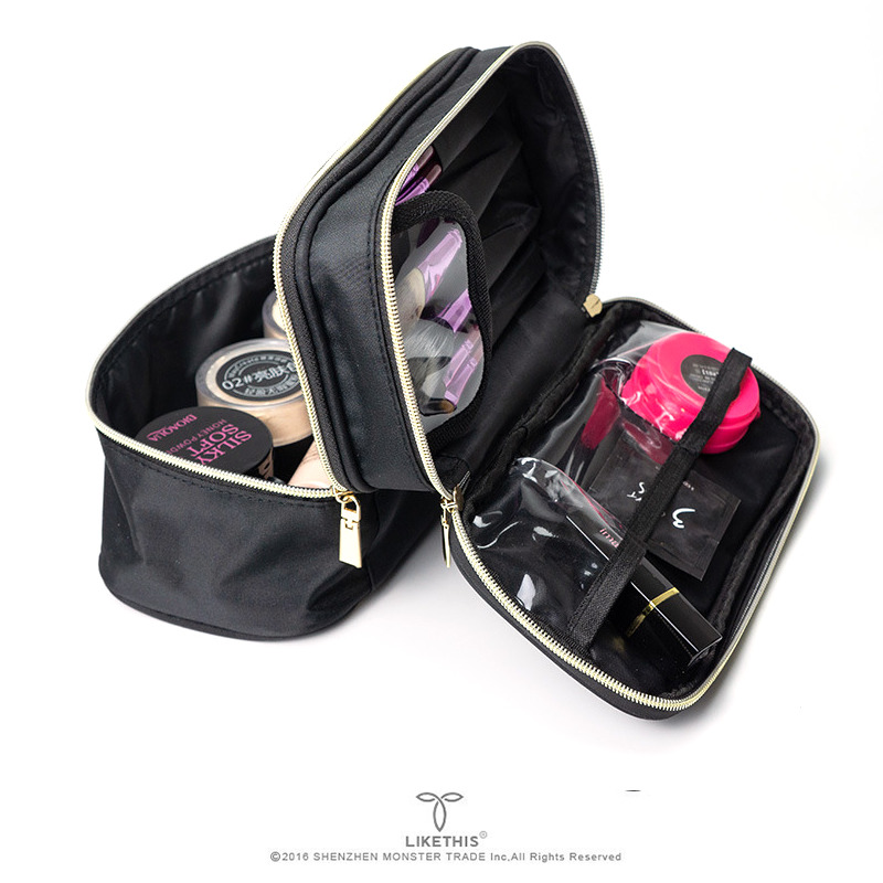 LIKETHIS Women Organizer Cosmetic Bags Double Layer Waterproof Fashion Lady Tote Make Up Tools Pouch Wash Toiletry Travel Case