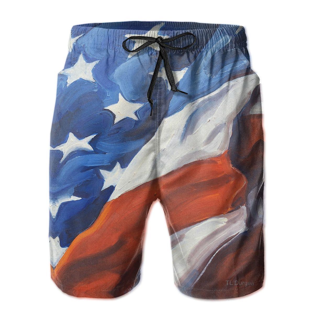 R333 свободные шорты с американским флагом первой страны дышащие быстросохнущие Смешные Новые Гавайские брюки