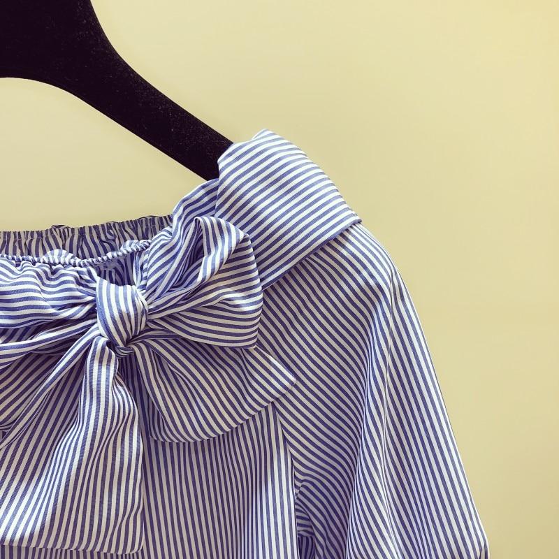 2020 Summer New Stripe Blouses Womens Slash Neck Bow Lace-up Short Sleeve Striped Shirt Lady Casual Fashion Shirt Blusas Blusa
