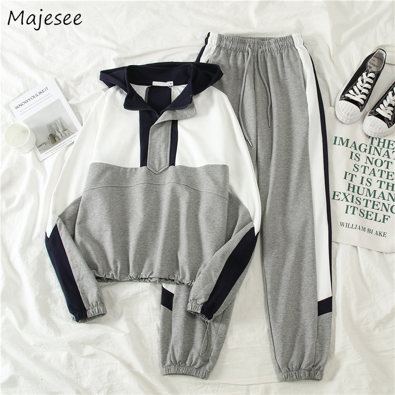 Women Sets Hooded Zipper Patchwork BF Harajuku Loose Streetwear Womens Tops New Trousers Females Unisex Drawstring Striped Chic