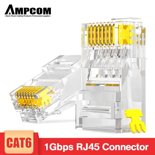 AMPCOM CAT6 RJ45 مقبس تركيبي موصل UTP 50U مطلية بالذهب 8P8C تجعيد نهاية لكابل إيثرنت ، كابلات الموصلات إيثرنت السائبة