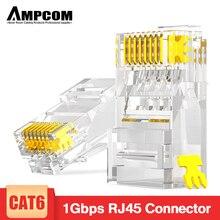 Conector modular ampcom cat6 rj45, conector utp 50u banhado a ouro 8p8c, terminal de crimpagem para cabo ethernet, conector de cabo ethernet em massa