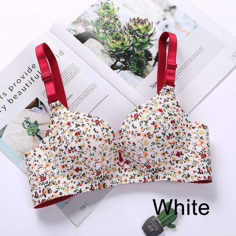 Women One-piece Bra Gathered Adjustable Shoulder Strap Four Rows Of Buckles Without Steel Support Printed Bra
