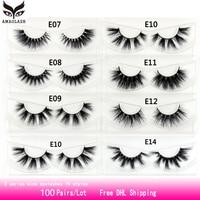 AMAOLASH 100 Pairs/Lot Eyelashes 3D Mink Lashes Natural Long Lasting Mink Eyelashes High Volume Fluffy Dramatic Eyelashes Makeup