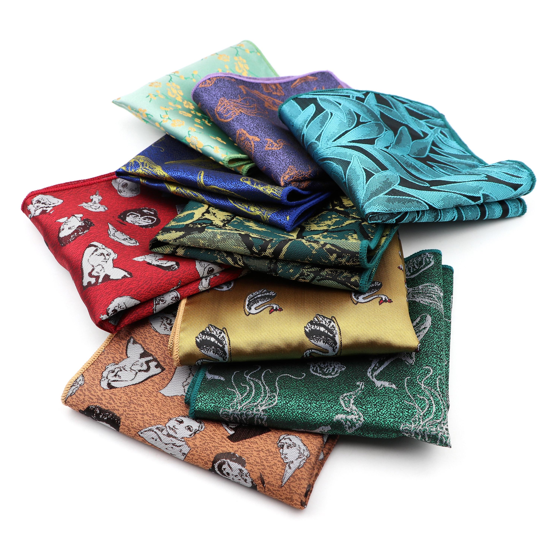 Floral Handkerchief Polyester Scarves Vintage Soft Fabric Paisley Whale Swan Hankies Men's Pocket Square Handkerchiefs 23*23cm