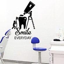 Simle – autocollant Mural citation quotidienne, décoration de clinique dentaire, brosse à dents en vinyle, Poter salle de bains, fresque de soins dentaires, décalcomanie de décoration HY1998