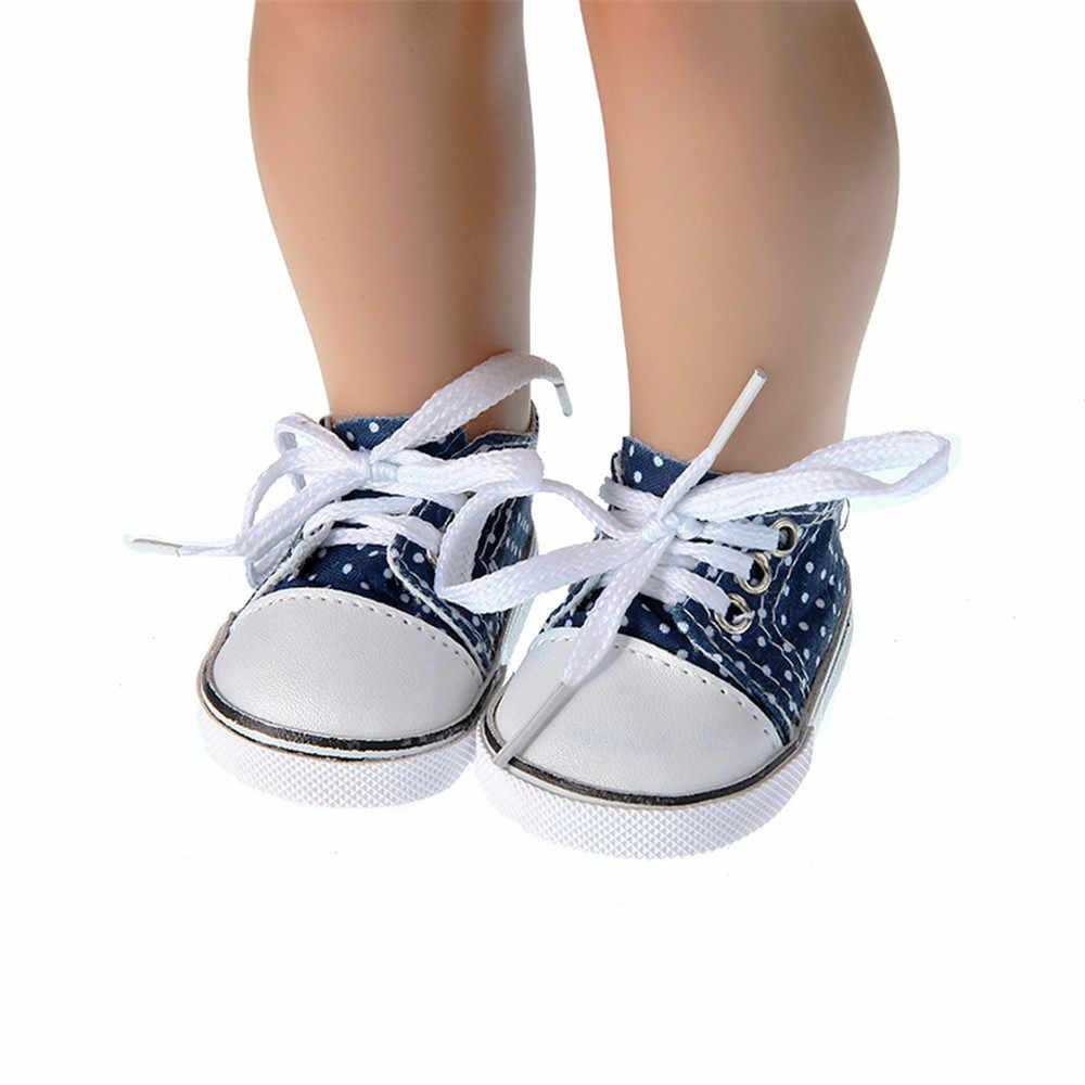 Nueva llegada zapatos de muñeca de 18 pulgadas de altura zapatillas de lona con cordones zapatos blancos negros azules para muñecas de 43cm
