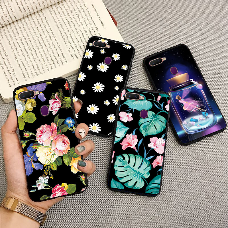 For OPPO AX7 Case 6.2''Soft Black TPU Phone Case For OPPO A7 OPPOA7 CPH1901Case Cute Rose Pattern Back Cover For OPPO A7 A 7 ax7 image