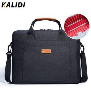 Image 1 - KALIDI wodoodporna torba na ramię 13.3 14 15.6 17.3 cala teczka torba biznesowa mężczyźni kobiety torba płótno Vintage torebka