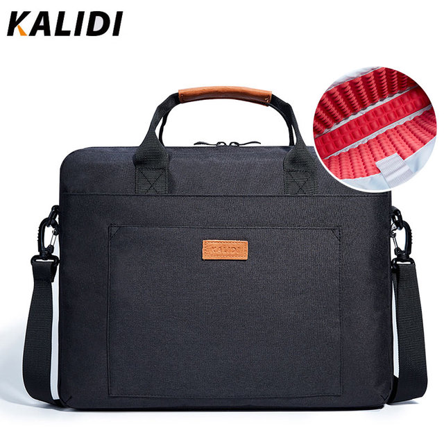 KALIDI wodoodporna torba na ramię 13.3 14 15.6 17.3 cala teczka torba biznesowa mężczyźni kobiety torba płótno Vintage torebka