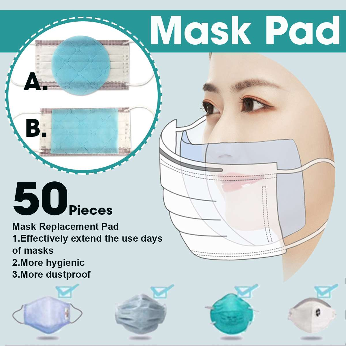 50Pcs Disposable 3 Layer Masks Gasket Anti PM2.5 Anti Influenza Breathing Safety Replacement Pad For kf94 N95 KN95 All Face Mask 1