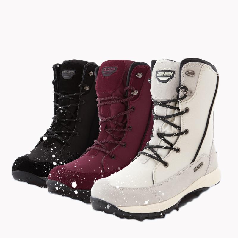 Winter New Ski Boots Women Waterproof Shock Fleece Lining Warm Snowboard Boots Waterproof Non-slip Middle Tube Ski Shoes