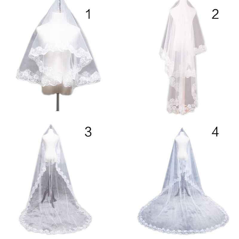 1.5/2/3/5 メートル 1 層女性ブライダル白の超ロングウェディングチュールベールワイド刺繍六角形花アップリケ櫛なし