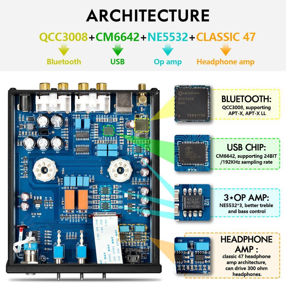 Nobsound HiFi Bluetooth 5.0 6J5 Valve Tube Preamp Bass Preamplifier Stereo Audio Headphone Amplifier USB DAC APTX - 4