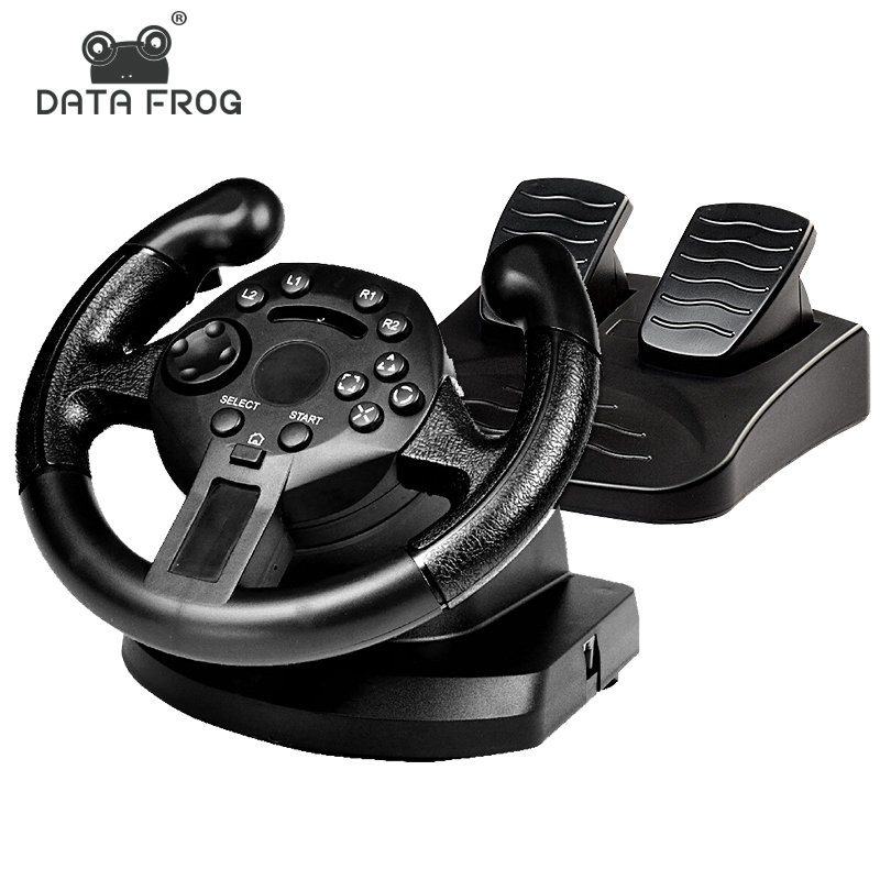 Data Frog Racing Game Pad 180 Degree Steering Wheel Vibration Joysticks For PS3 Game Remote Controller Wheels Drive For PC image
