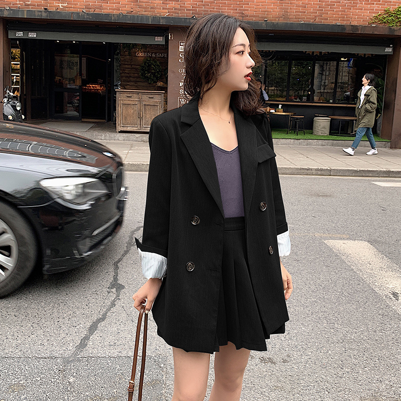 Korean Casual Ladies Blazer Simple Solid Gray Loose Suit Jacket Stylish Blazer Paillette High Street Women Spring Jacket MM60NXZ