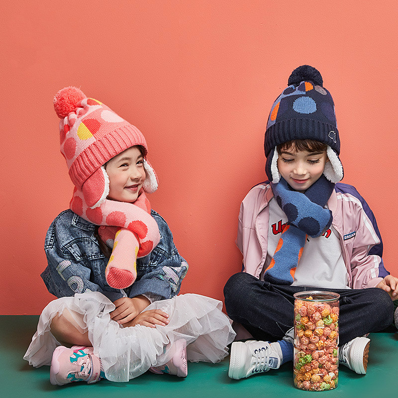COKK Winter Hat And Scarf Children Wool Knitted Cap Hats For Kids Girls Boys With Scarf Pompom Ball Dot Pattern Velvet Thick Set