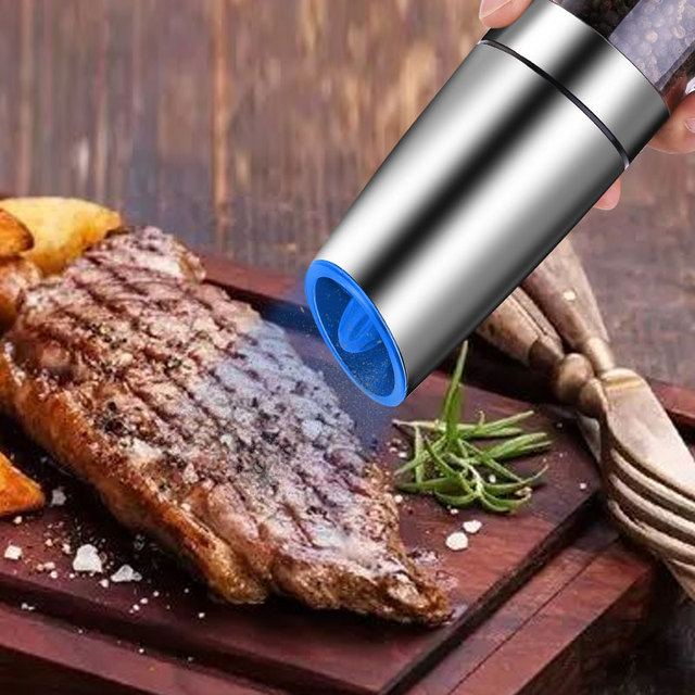 DEKO Electric Pepper Mill Gravity Induction Stainless Steel Salt Spice Grinder LED Light Kitchen Tool 1
