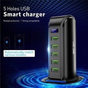 Image 2 - USLION 5 Port Multi USB Charger LED Display USB Charging Station Universal Mobile Phone Desktop Wall Home Chargers EU US UK Plug