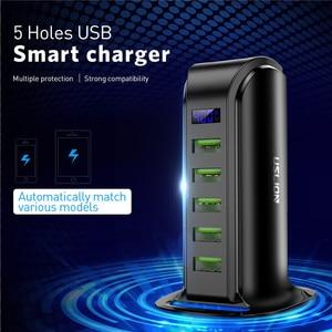 Image 2 - USLION 5 ports Multi USB chargeur LED affichage USB Station de recharge universel téléphone portable bureau mur maison chargeurs ue usa prise britannique