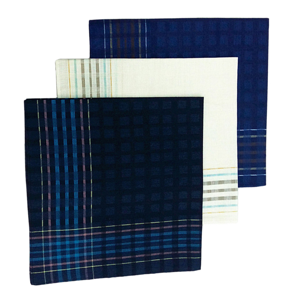 3 Pack Check Pattern Handkerchiefs For Men Party Pocket Square Gift Set 16x16'