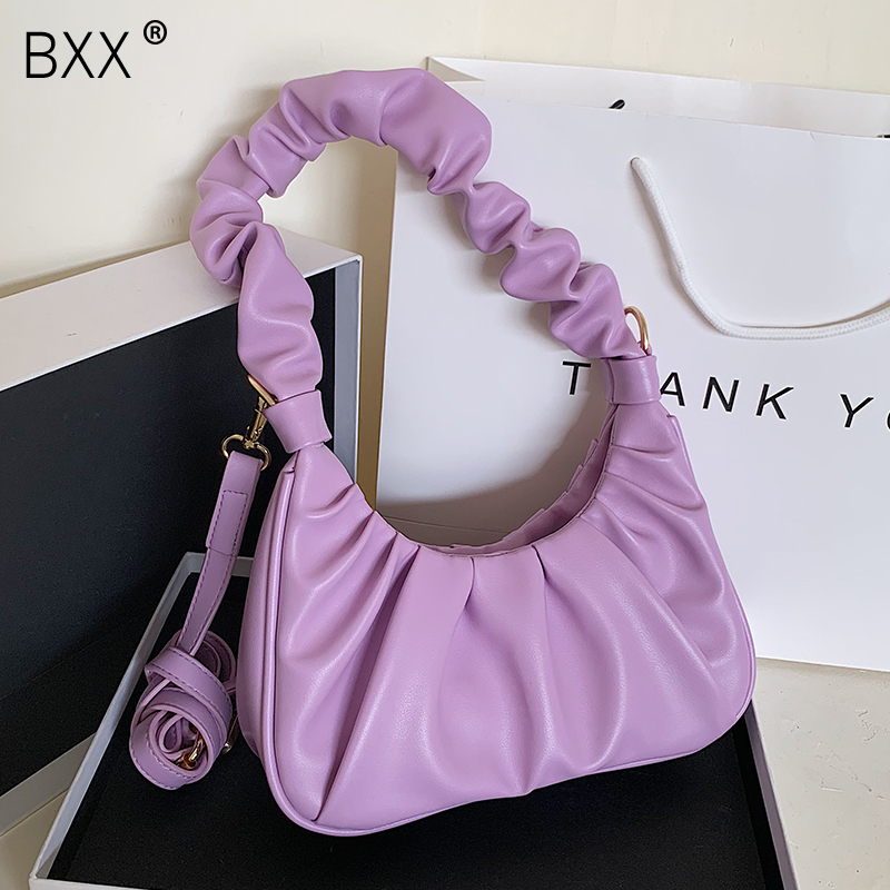 [BXX] Simple Small PU Leather Crossbody Pleated Bags For Women 2020 Spring Fashion Shoulder Handbags Female Travel Bag HM319