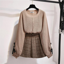 Skirt Suit Pullovers Belt Tweed Outfits Sweater Plaid 2piece-Set Casual Women Wool P821