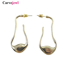 Carvejewl stud earrings big abstract shape metal simple stud earrings for women jewelry girl gift new Korean wholesale earrings цена