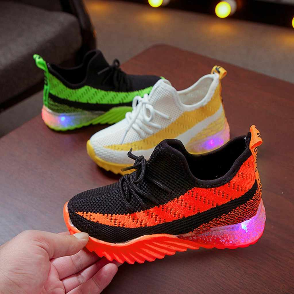 Kids Shoes Baby Girls Boys Shoes Candy Color Led Luminous Sport Run Kids Sneakers Flat Shoes Tenis Infantil Zapatillas Nino