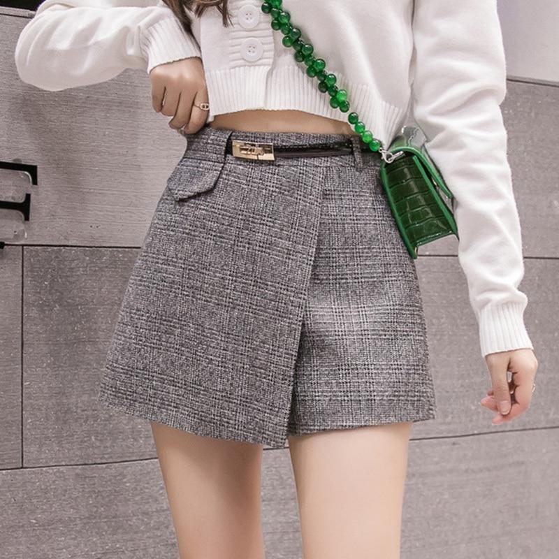 Irregular Woolen Plaid Shorts Skirts For Women 2019 Atumn Winter Office Shorts Women Plus Size Booty Shorts Feminino Short Pants