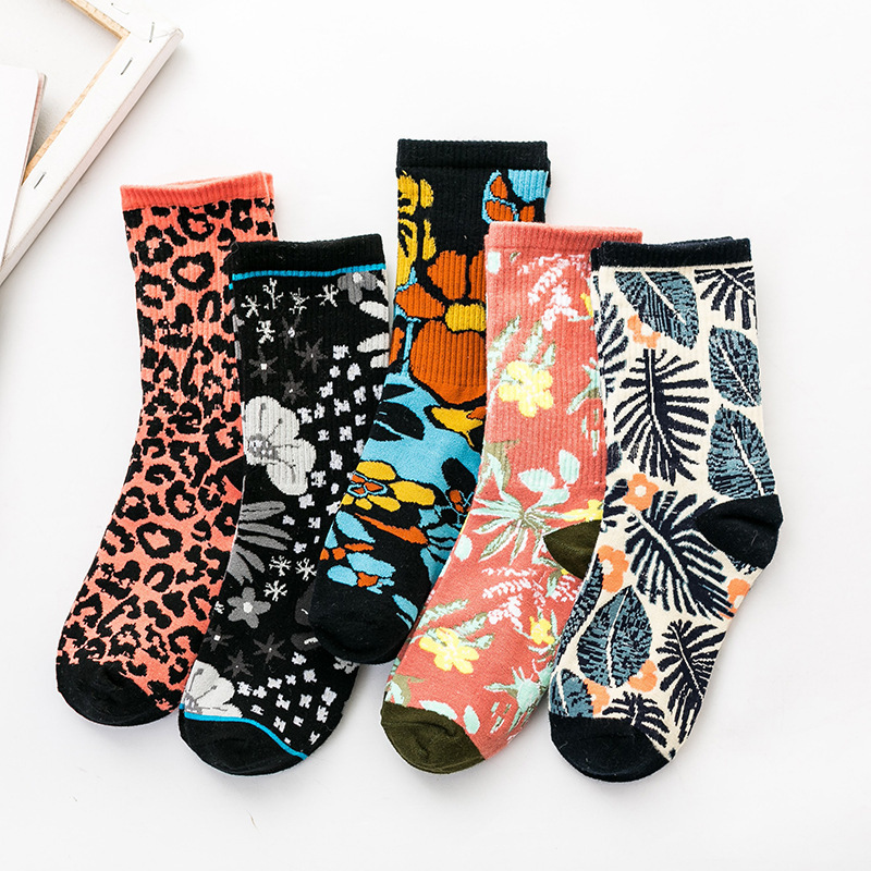 SP&CITY Women Fashion Flowers Patterned Cotton Socks Female Original Leopard Print Casual Socks Joker Sweat Absorption Sox