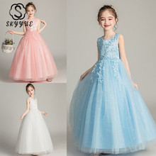 Skyyue Flower Girl Dresses for Wedding Kid Party Floor Length Embroidery Tulle Princess Dress Cotton Lining Ball Gown 2019 BX683 недорого