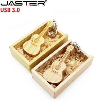 JASTER USB 3.0 LOGO customized natural wooden guitar + box 4GB 8GB 16GB 32GB wood guitars usb flash drive memory stick gifts