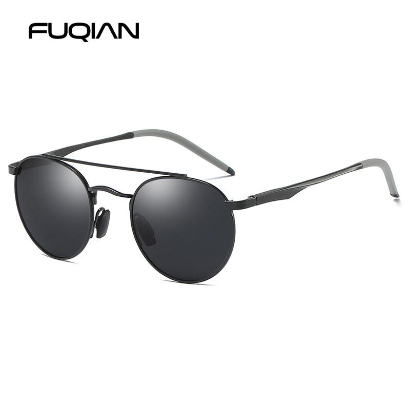 FUQIAN Brand New Round Polarized Sunglasses Men Retro Metal Driving Women Sun Glasses Aluminium Magnesium Unisex Sunglass UV400