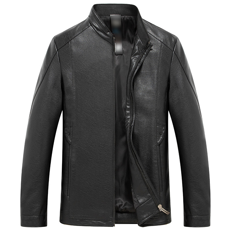 New Men's Leather Jacket Clothes Goatskin Business Casual Stand Collar Genuine Leather Coat