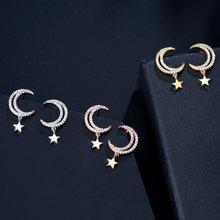 LISM – boucles d'oreilles en cuivre rouge incrusté d'étoiles en zircon et de tempérament de lune pour femmes, tendance populaire au japon et en corée du sud