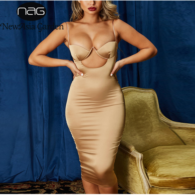 NewAsia Chest Hollow Out Sexy Dress Women Summer Spaghetti Straps Birthday Party Bodycon Long Dress Rose Gold Satin Dress White