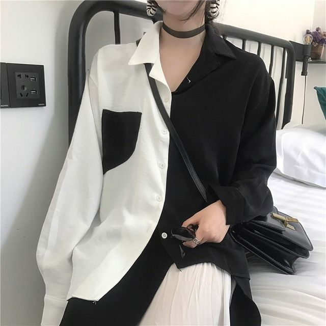 New Fashion Women Blouse Contrast Color Pockets Autumn Female Turn Down Collar Single Breasted Office Lady Shirt Top 2