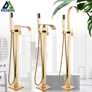 Image 1 - Rozin Golden Bathtub Shower Faucet Floor Mounted Bathroom Shower Mixer Tap Free Standing Waterfall Robinet de baignoire